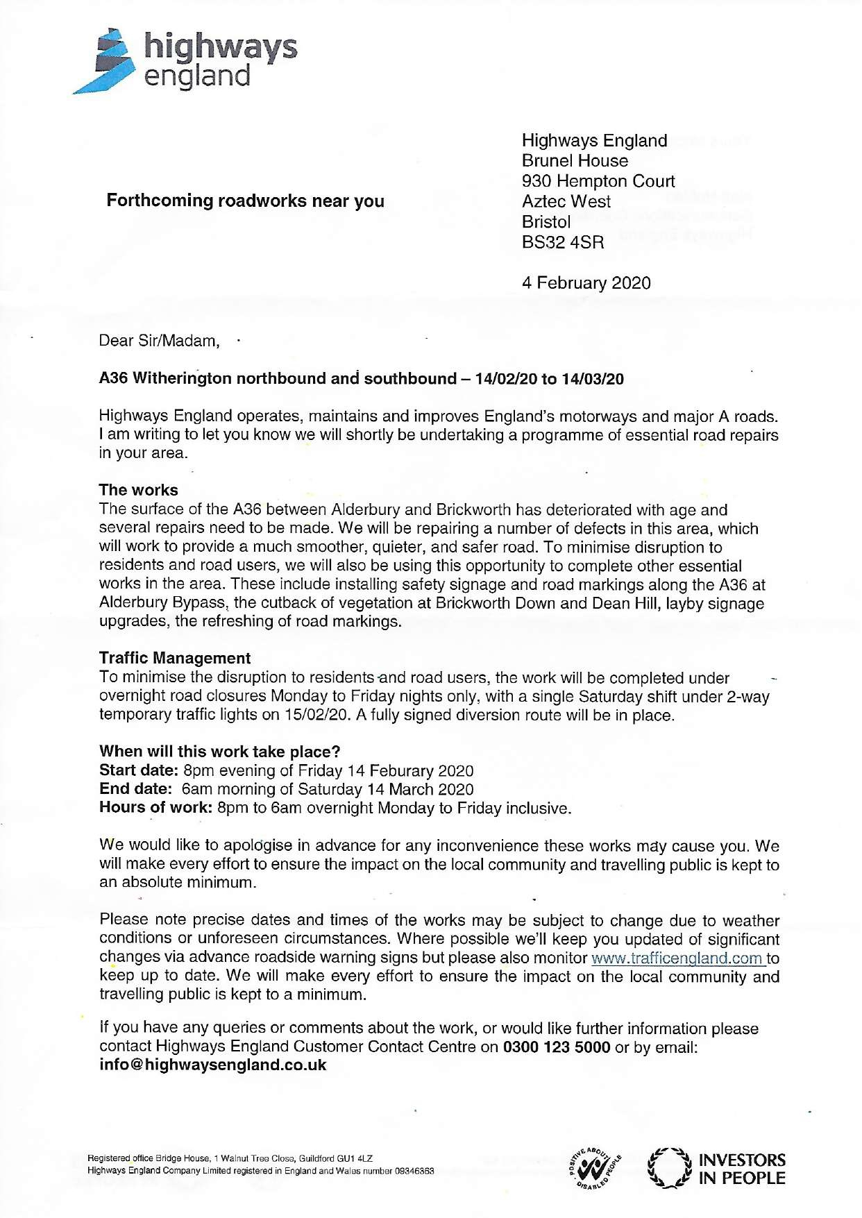 image of letter about road closure - click to download pdf